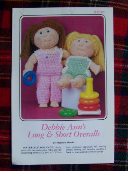 Vintage Crochet Pattern Debbie Ann's Dolls Long & Shorts OVeralls Romper Annies Attic