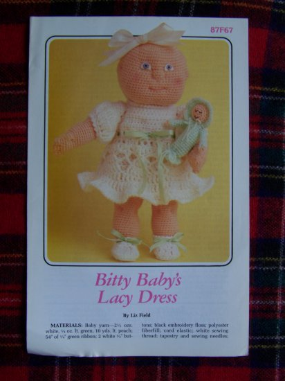 Vintage 1980s Bitty Baby Lacy Dress Doll CLothes Crochet Pattern