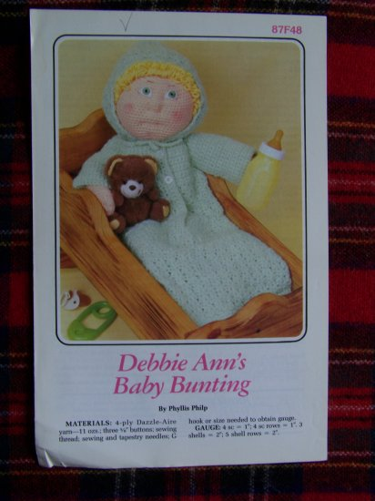 1985 Annie's Crochet Pattern Doll CLothing Baby Bunting 1 Cent US S&H
