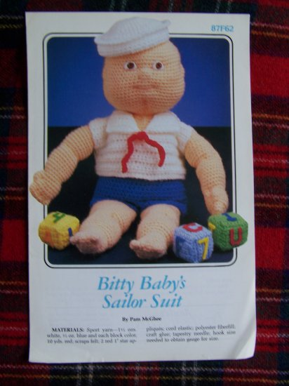 Vintage Crochet Pattern Doll Sailor Suit Bitty Baby's 87F62 Dolls CLothing
