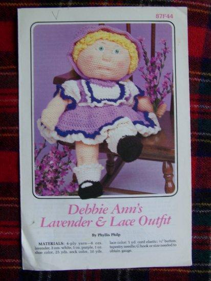 Vintage 1985 Annie's Crochet Doll Dress Pattern Debbie Ann's Lavender & Lace