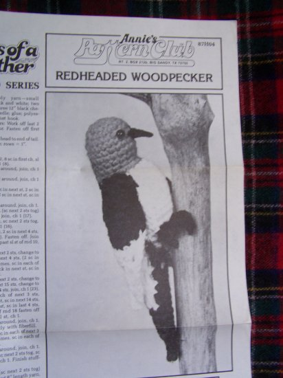 Annie's Crochet Pattern Club Redheaded Woodpecker Songbird Crocheting 87H04