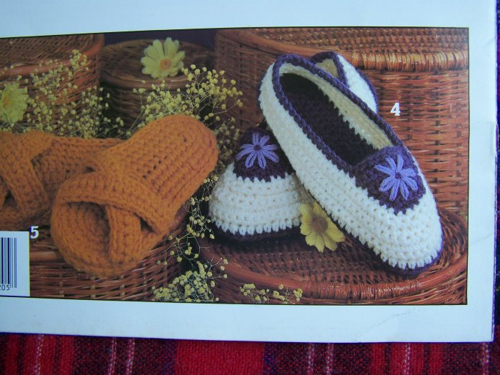 7 Vintage Women and Childrens Crochet Slippers Patterns S M L House Shoes