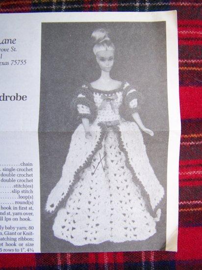 USA 1 Cent S&H Vintage Crochet Barbie Pattern Shady Lane Timeless Fashion Doll Wardrobe