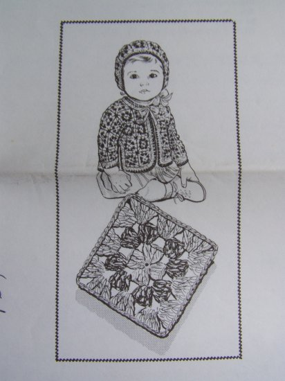 Infant Vintage Crocheted Baby Patterns Jacket Hat Set 6M - 1T Crochet