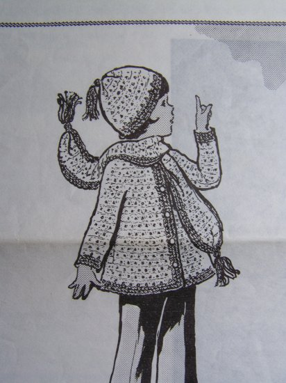 USA 1 Cent Ship Vintage Girls Crochet Pattern Winter Coat Jacket Hat Scarf 2 4 6 8 10 12