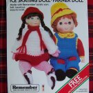 1 Cent USA S&H Vintage Crochet Dolls Patterns Ice Skating and Farmer Doll