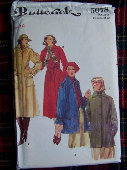 80's Vintage Sewing Pattern Lined Coat & Jacket Misses 14 Butterick 5078