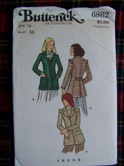 Vintage Sewing Pattern Fitted Blazer Suit Jacket BUtterick 6862