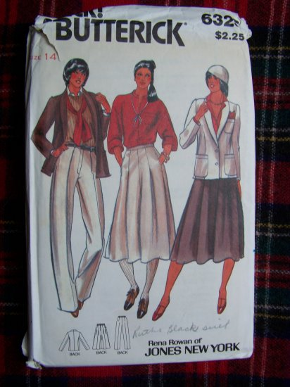 Vintage Sewing Pattern Butterick 6325 Jacket Skirt Pants Suit Misses 14