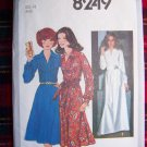 70's Vintage Sewing Pattern Dress Tucked Front Knee or Maxi Length 8249
