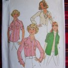 1970's Vintage Sewing Pattern Misses Shirts Rolled Up Tab Sleeves 7912