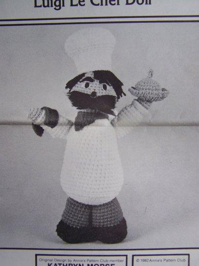 USA 1 Cent S&H Luigi Le Chef Doll Crochet Deli Vintage Pattern Annie's Crocheting