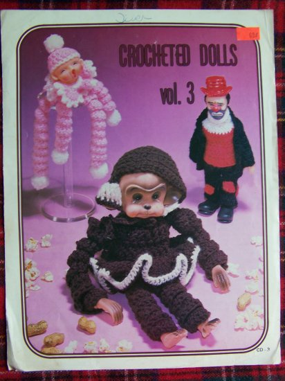 1 Cent USA S&H Vintage Darice Crocheted Dolls V 3 Patterns Monkey Hobo Clown