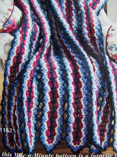 US 1 Cent S&H Red Heart 1990s Mile a Minute Crochet Afghan Pattern