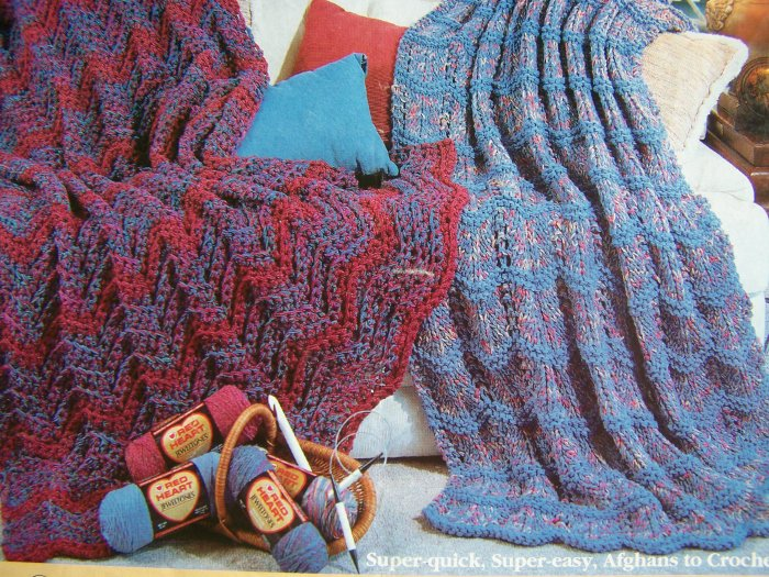 1 Cent S&H USA  Red Heart Denim Swags Crocheting and Knitting Afghan Patterns