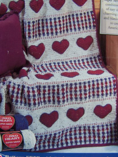 1 Penny US S&H Red Heart Afghan Crochet Pattern American Heartland Americana Country