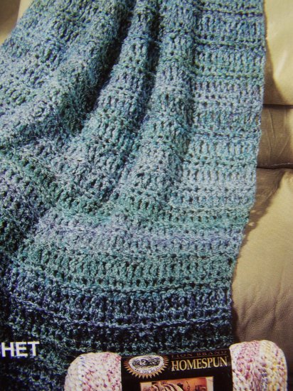 Crochet Afghan Pattern Homespun Yarn : USA Specials Lion Brand Homespun Waterfall Crochet and ...
