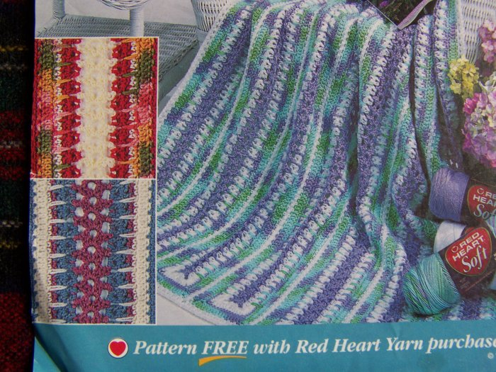 USA Penny S&H Red Heart Crochet Afghan Pattern Spring ...