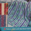 USA Penny S&H Red Heart Crochet Afghan Pattern Spring Fling Intermediate Crocheters