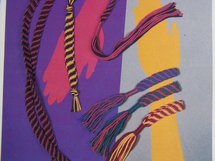Vintage 1980's Hippie Finger Weaving Patterns Groovy Belt Bracelet Bookmark