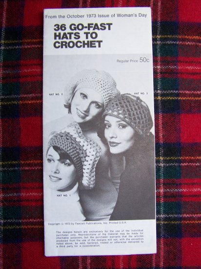 USA 1 Cent S&H 1970s Vintage 36 Crocheting Hat Patterns Go Fast Hats To Crochet