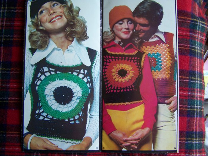 US 1 Cent S&H Misses & Mens Vintage 70's Hippie Sweater Vests Crocheting Patterns