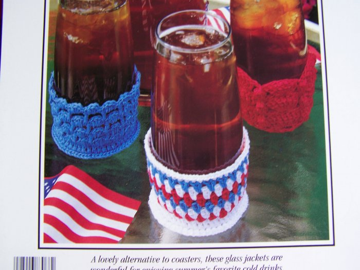 USA 1 Cent S&H Leisure Arts Crochet Pattern Iced Tea Jackets Coasters