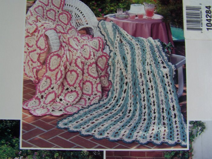 1994 Afghan Crochet Patterns Sweetheart Floral Vintage Love Harmony Confection