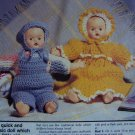 USA 1 Cent S&H  2 Vintage Crochet Twin Dolls Patterns Crocheting Pattern Set