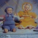 USA 1 Cent S&H  2 Vintage Crochet Twin Dolls Patterns Crocheting Pattern Set