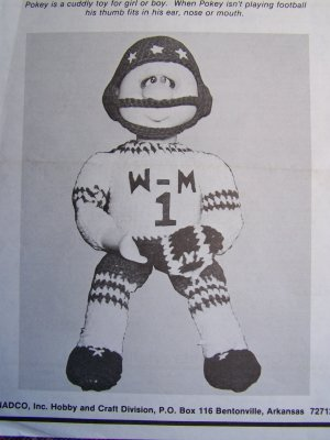 1 Cent USA S&H Vintage Crochet Pattern Pokey the Football Player Stuffed Doll