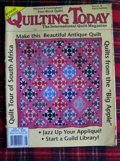 Quilting Today Pattern Magazine # 26 August Sept 1991 8 Quilt Patterns