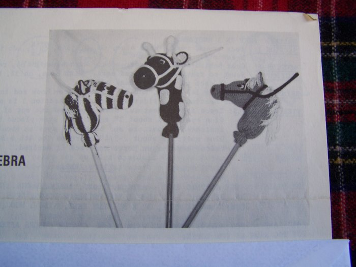USA 1 Cent S&H Vintage Crochet Pattern Stick Pony Horse Zebra Giraffe Stitch N Stuff