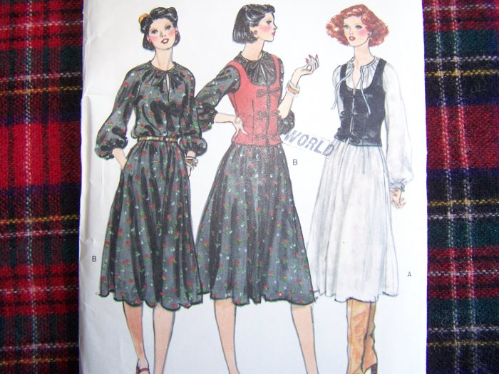 Vintage Vogue Sewing Pattern Sz 14 Pullover Dress Full SKirt Vest 9871
