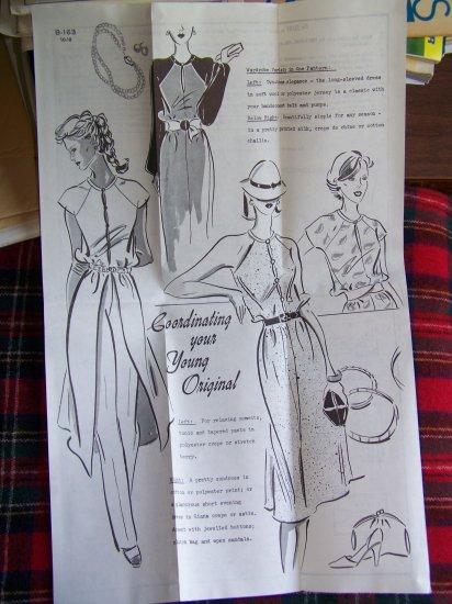 New Vintage Sue Burnett Mail Order Sewing Pattern Evening Dress Sundress Split Tunic B 163