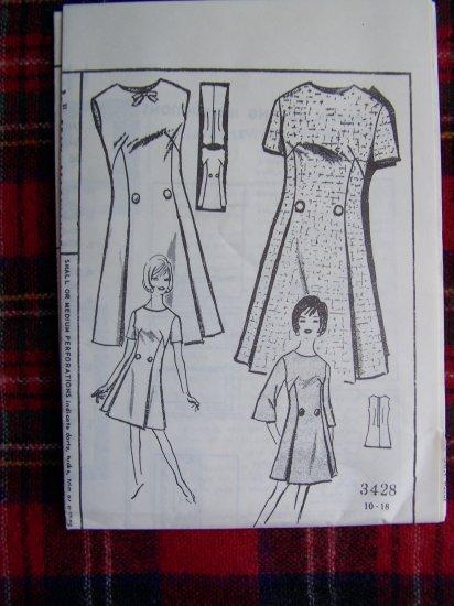 New Vintage Iris Lane Dress Sewing Pattern 3428 Sz 16 Short or Bracelet  Sleeves Sleeveless