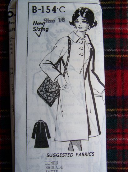 New Vintage Sewing Pattern Mail Order 2 Length Lined Coat Bust 38 B-154-C