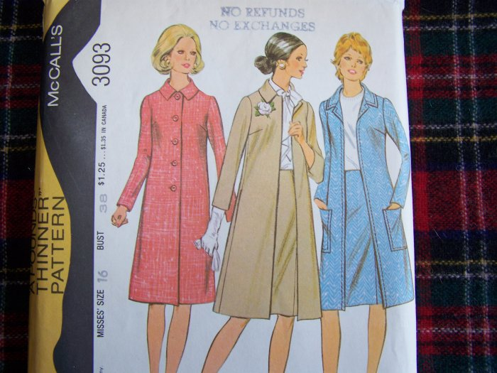 1970s Vintage Sewing Pattern 3093 Dressy Lined Coat & Straight Slim Skirt sz 16