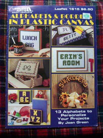Leisure Arts Alphabets & Borders In Plastic Canvas Patterns Book Leaflet 1615