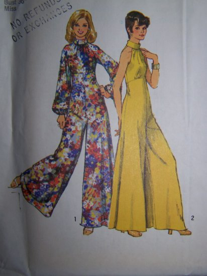 1970s Vintage Sewing Pattern 5570 Hostess Jumpsuit Puff Long Sleeve Bell Bottom 5570