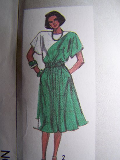 80's Vintage Sewing Pattern 7317 Full SKirt Dress Kimono Slv Elastic Waist 10 12 14