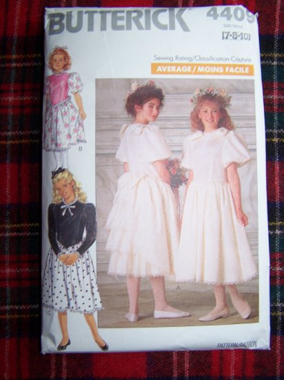 Vintage Girls Sewing Pattern 4409 Flower Girl Dress Layered Back Sz 7 8 10