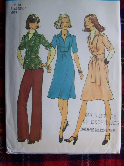 Vintage Sewing Pattern 7049 Hippie Dress or Tunic Top Pants Sz 10