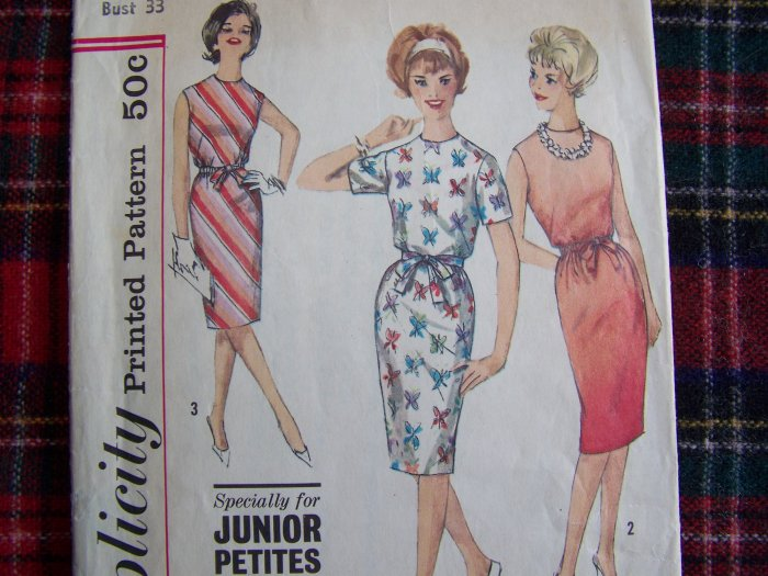 60s Easy Vintage Sewing Pattern One piece Dress Kick Pleat Junior Petite 4348