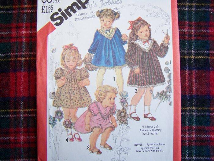 Vintage Toddler Girls Dress Sz 1 Sewing Pattern 5629 Ruffled Lace Ribbon Trim Christmas