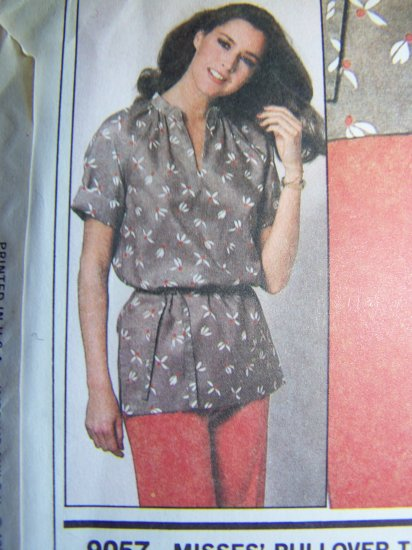 USA 1 Cent S&H Vintage Sewing Pattern 9057 Tunic Top Tie Belt Stand Up Collar Slash