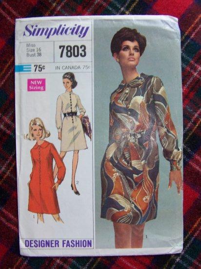 60's Vintage Sewing Pattern 7803 Mod Lined Dress High or Mandarin Collar Bust 38 Sz 16