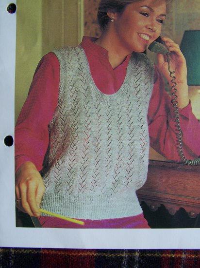 USA 1 Cent S&H Vintage Knitting Pattern Sleeveless Lace Pullover Sweater Bust 34 - 38