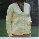 USA 1 Cent S&H Vintage Knitting Pattern Ladys Rib Knit V Neck Cardigan Sweater